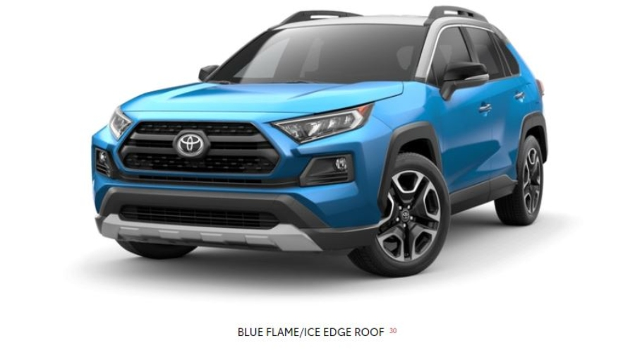 2019 Toyota RAV4 in Blue Flame/Ice Edge Roof