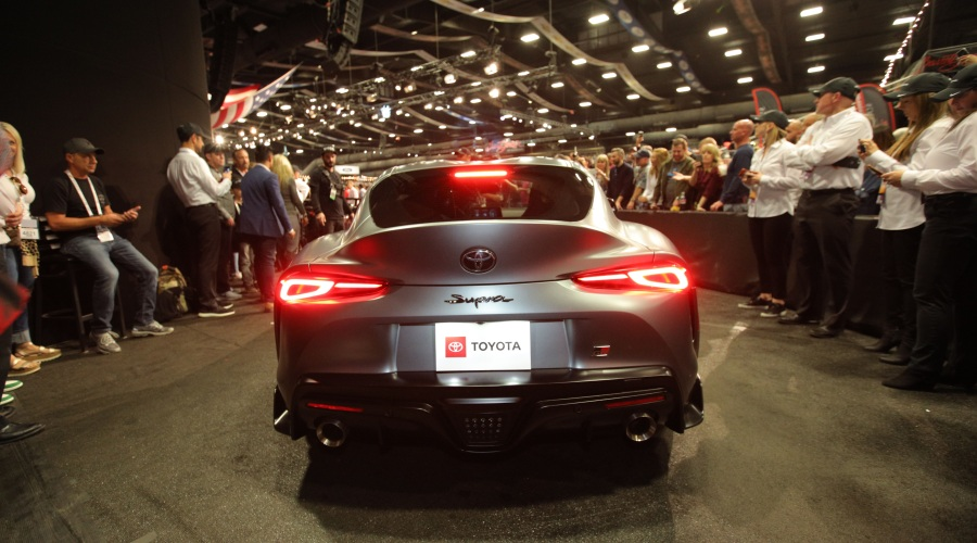 Rear view of a 2020 Toyota Supra