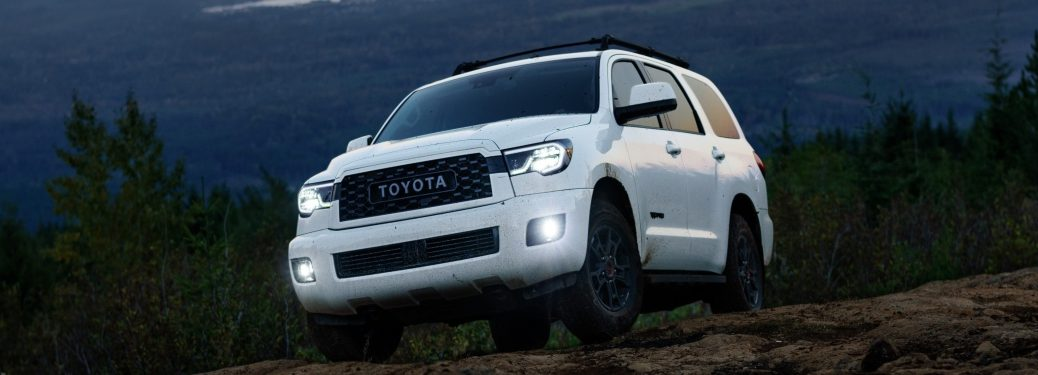 Front view of a white 2020 Toyota Sequoia TRD Pro