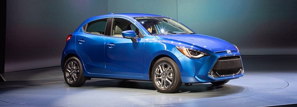 2020 Toyota Yaris blue front view on stage