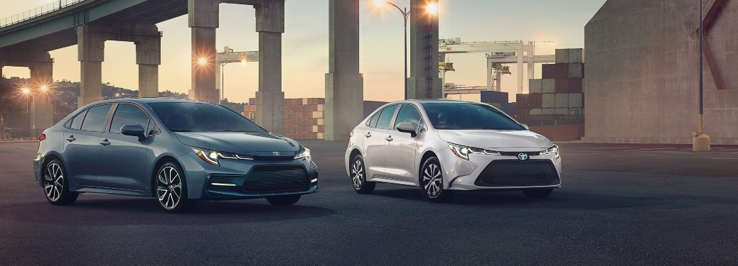 Two 2020 Toyota Corolla models parked under bridge