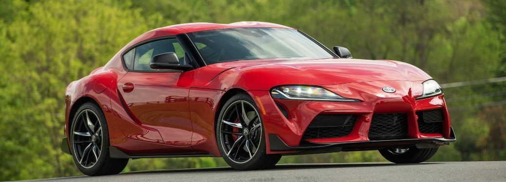 Side view of a red 2020 Toyota Supra