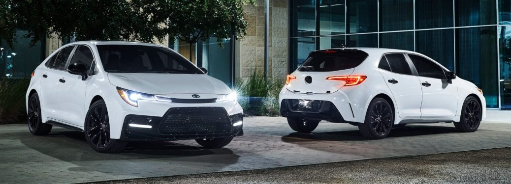 White Corolla and Corolla Hatchback models with the Nightshade Edition package