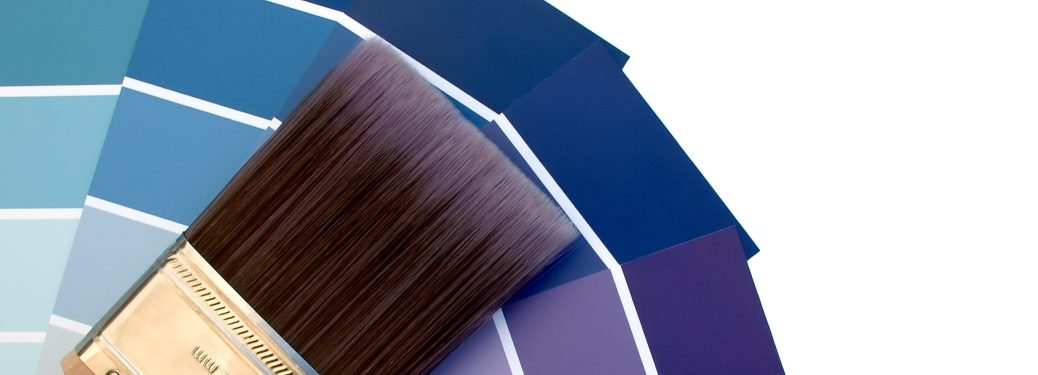 Purple and Blue Swatches with Paint Brush on Top