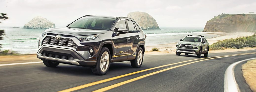 2020 RAV4 models driving on coastal road