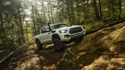 2020 Tacoma TRD driving in forest