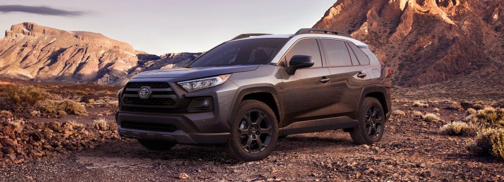 2021 RAV4 parked by rock formations