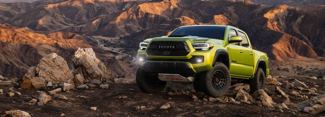 2022 Tacoma TRD Pro parked on rock formation