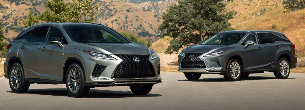 2020 Lexus RX and 2020 Lexus RX L parked out in a desert.