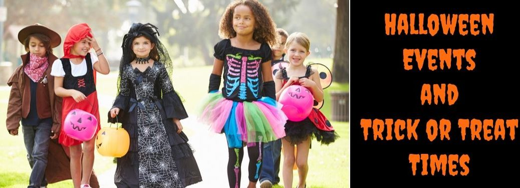 Children in Costumes Trick or Treating and Black Background with Orange Halloween Events and Trick or Treat Times Text