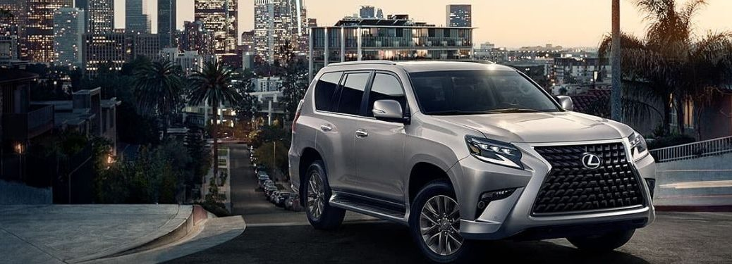 Silver 2020 Lexus GX in Front of City Skyline at Night