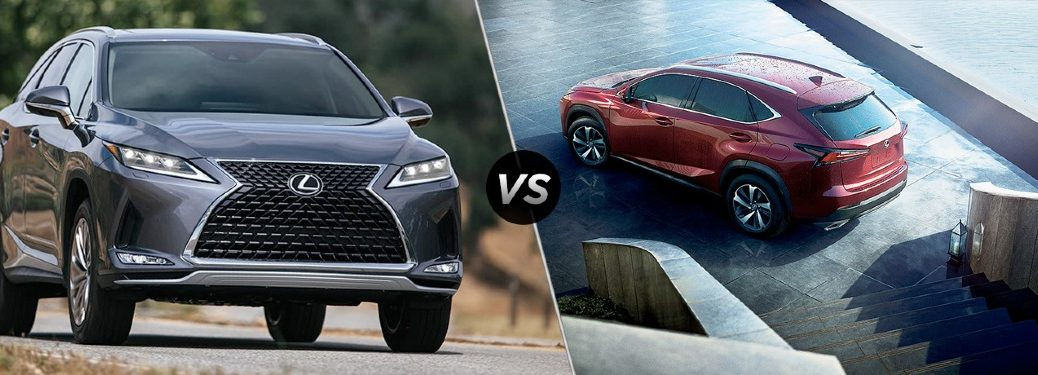 """2020 Lexus RX 350 and 2020 Lexus NX 300, separated by a diagonal line and a """"VS"""" logo."""