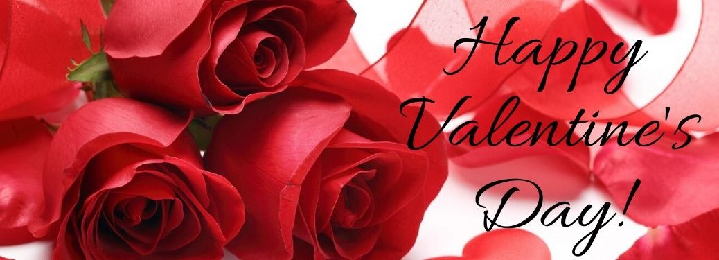 Close Up of Red Roses with Black Happy Valentine's Day Script