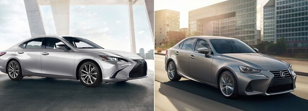 Silver 2020 Lexus ES in a Parking Structure vs Gray 2020 Lexus IS on a City Street