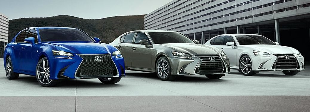 Blue, Gray and White 2020 Lexus GS Models in a Parking Lot