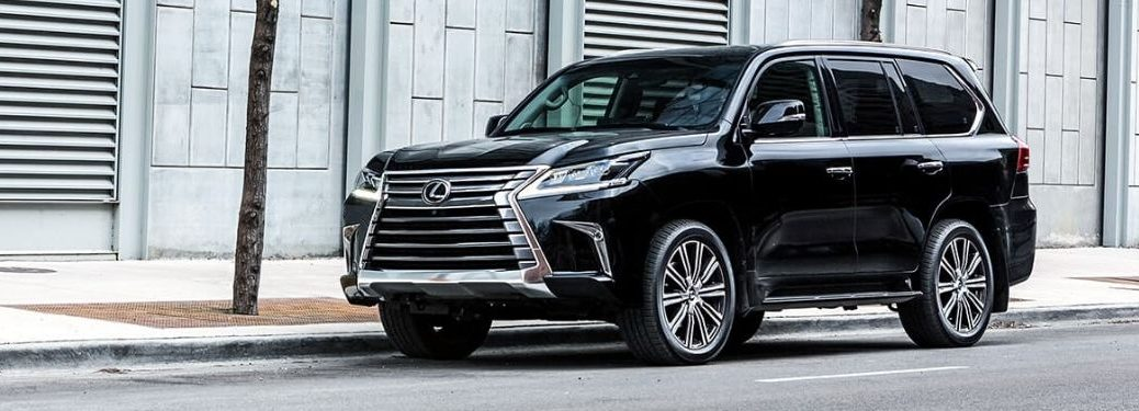Black 2020 Lexus LX on a City Street