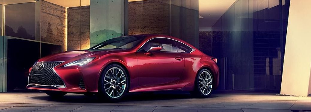 Red 2020 Lexus RC in a Driveway at Night