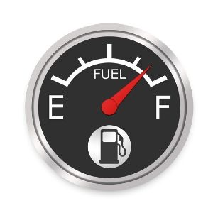 Fuel Gauge Graphic with Needle on Full on a White Background