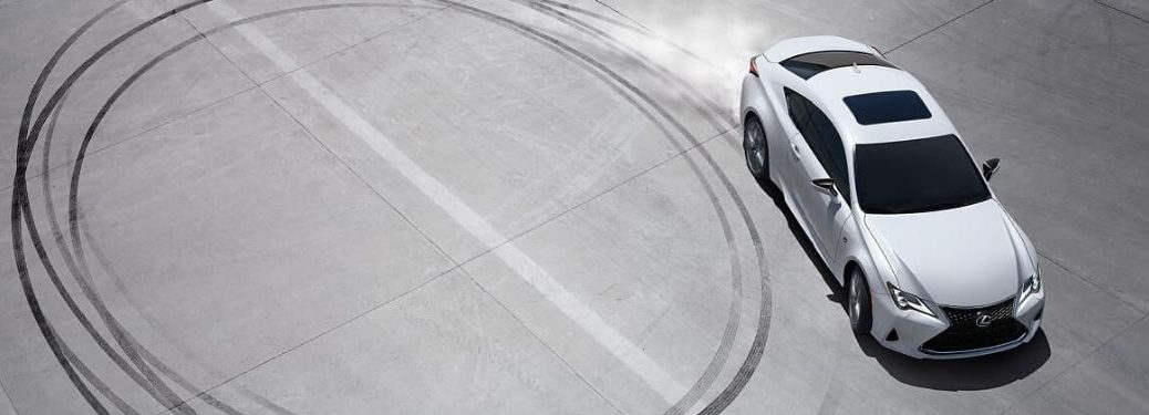 White 2020 Lexus RC Burning Rubber on a Track