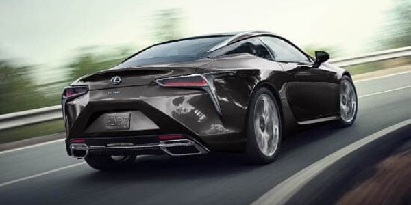 Brown 2020 Lexus LC Rear Exterior on a Track