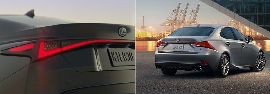 Close Up of 2021 Lexus IS Taillights vs Silver 2020 Lexus IS Rear Exterior