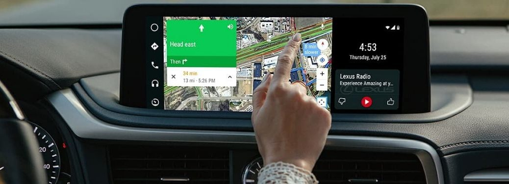 Woman Using Android Auto and Google Maps in Her Lexus