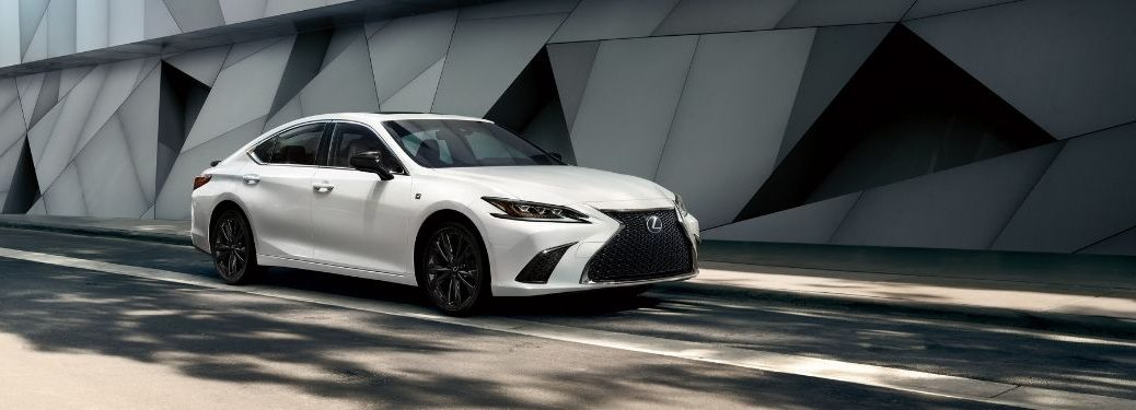 White 2021 Lexus ES Black Line Special Edition on a City Street