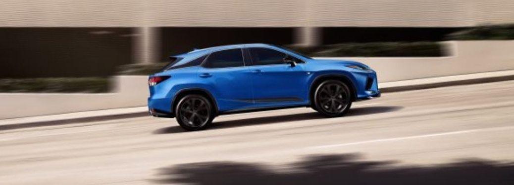 Blue 2021 Lexus RX 350 F Sport Black Line Special Edition Side Exterior on a Freeway
