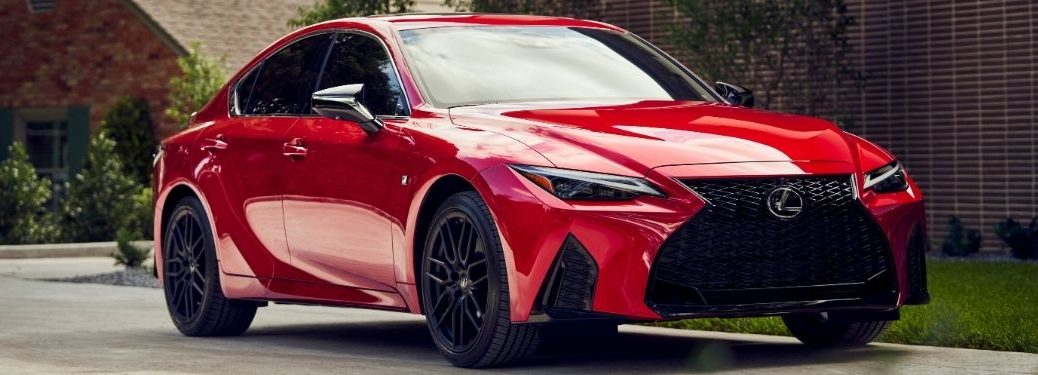 Red 2021 Lexus IS F Sport Front Exterior in a Driveway