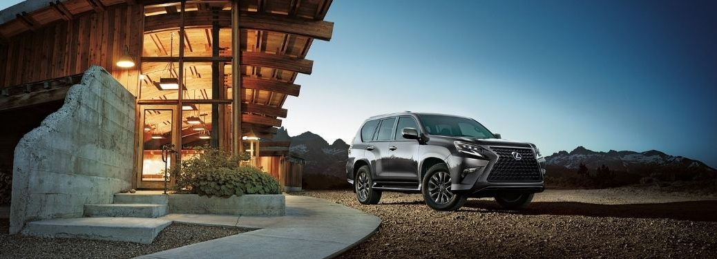 Gray 2021 Lexus GX in a Driveway at Sunset