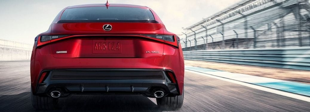 Red 2021 Lexus IS F Sport Rear Exterior on a Track
