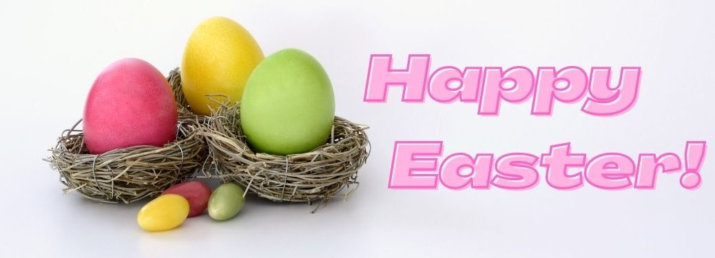 Colorful Easter Eggs in Baskets on a White Background with Pink Happy Easter Text