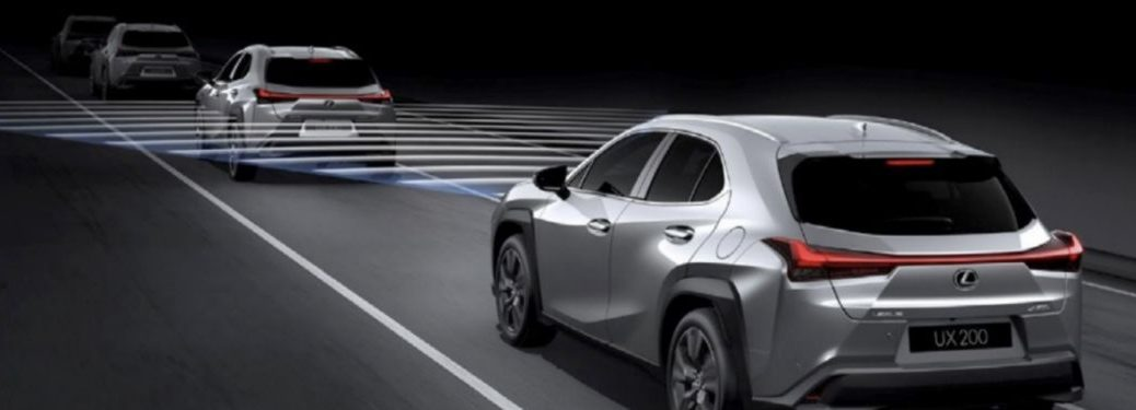 Graphic of Lexus UX with Lexus Safety System Technology