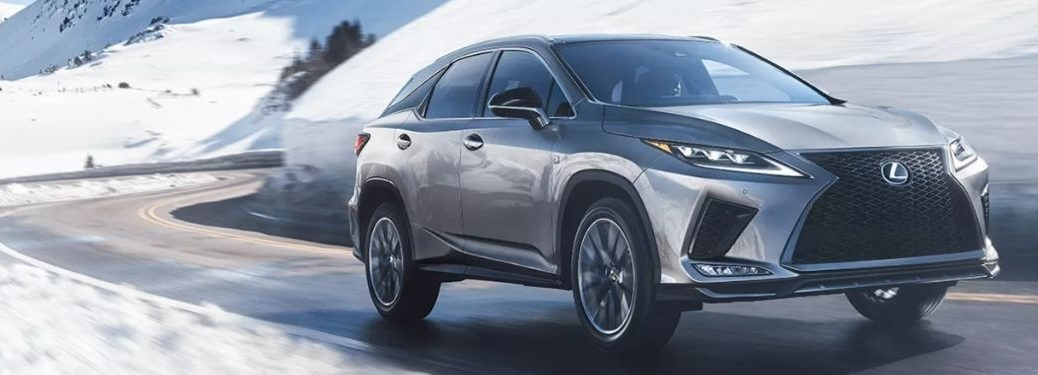 Gray 2022 Lexus RX Front Exterior on a Snowy Road