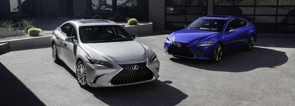 Silver and Blue 2022 Lexus ES Models in a Driveway