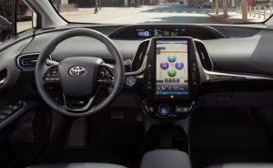 steering wheel and dash of toyota prius