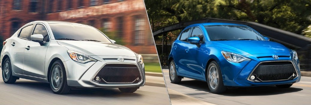 2020 Toyota Yaris compact sedan model in silver and 2020 Toyota Yaris Hatchback model in blue