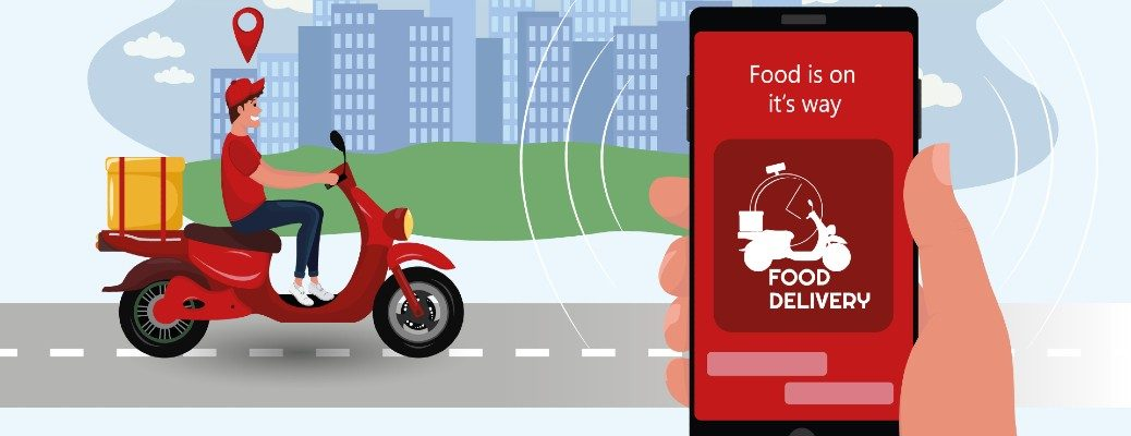 restaurant food delivery man on a motorcycle as a customer tracks their delivery with an online smartphone app