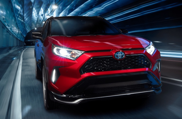 2021 Toyota RAV4 Prime red front view at night