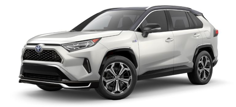 2021 Toyota RAV4 Prime side view Blizzard Pearl with black roof