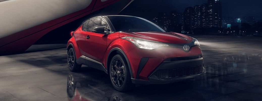 2021 Toyota C-HR Nightshade Edition in red at night