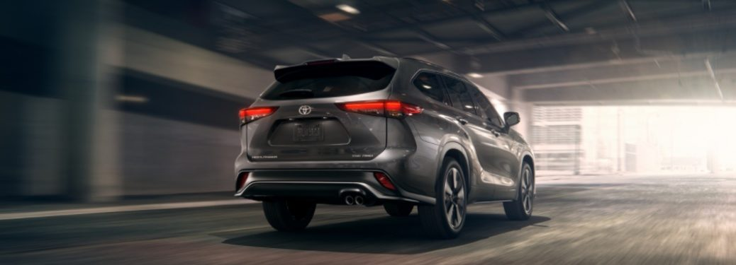 2021 Toyota Highlander driving down a tunnel