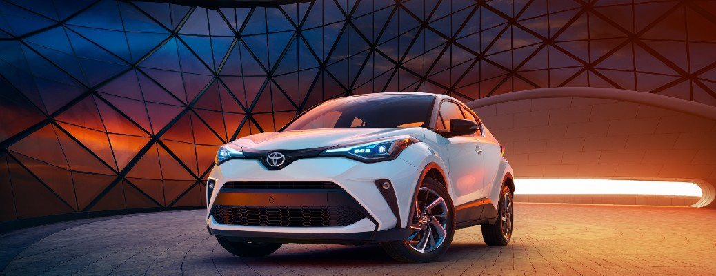 2021 Toyota C-HR parked in a building near a large window