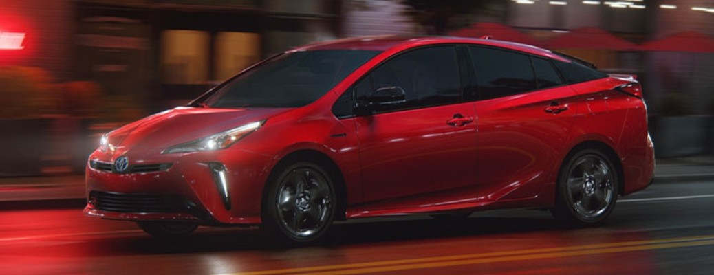 red 2021 Toyota Prius side view