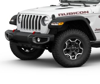 2020 Jeep Gladiator Bright White side view Rubicon with polished black wheels