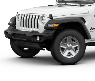 2020 Jeep Gladiator Bright White side view Sport S with silver wheels