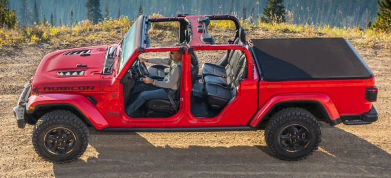 2020 Jeep Gladiator red top off side view