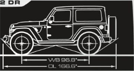2020 Jeep Wrangler side view diagram with angles