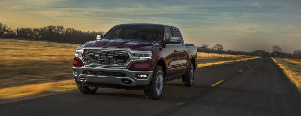 A photo of the 2020 Ram 1500 on the road.