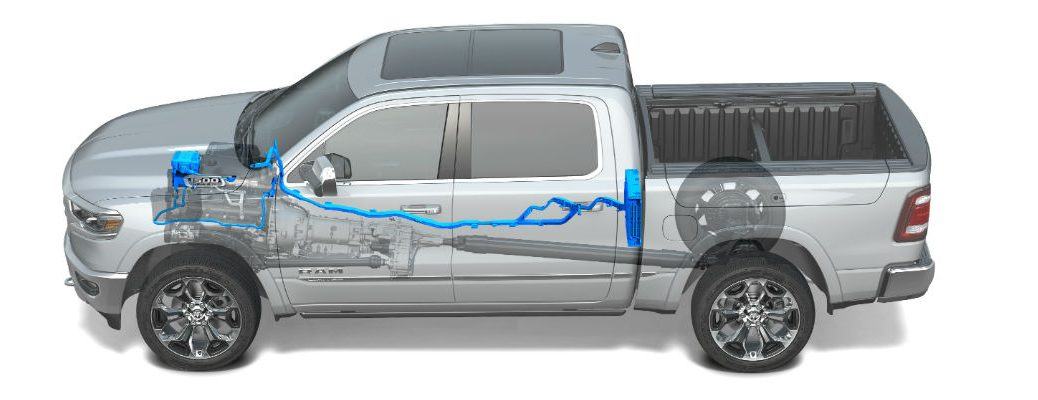 A photo illustration of the eTorque system used by the Ram 1500.
